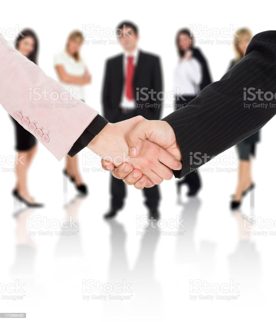 Business handshake with team royalty-free stock photo