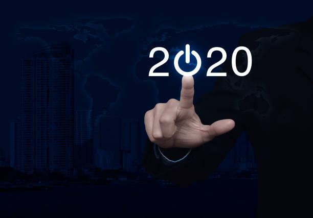 Business happy new year 2020 cover concept, Elements of this image furnished by NASA stock photo