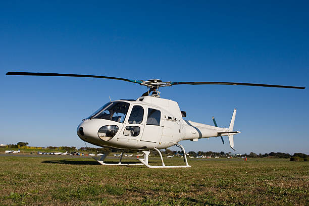 Business helicopter (low view) stock photo