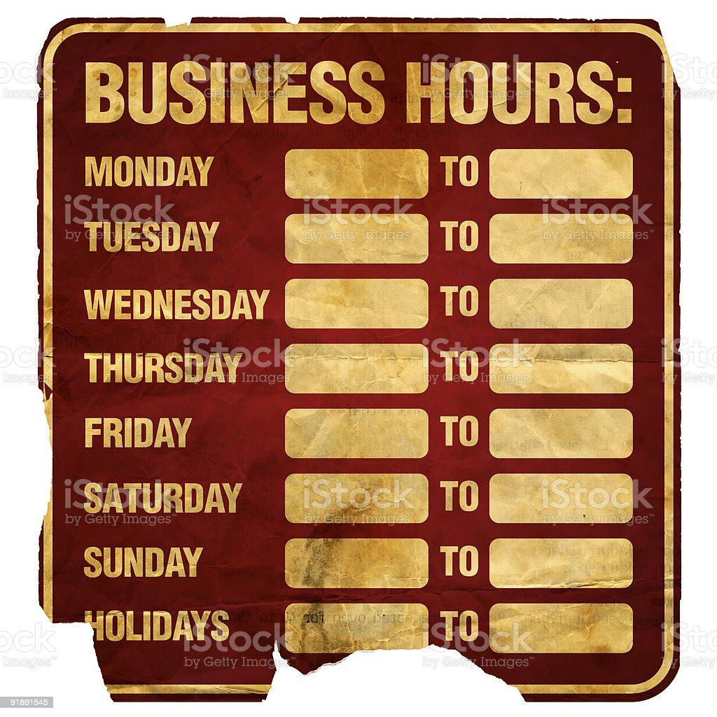 Business Hours Degraded stock photo