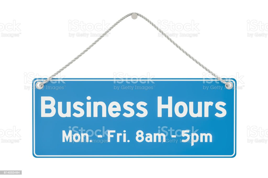 Business Hours Hanging Sign, 3D rendering isolated on white background stock photo