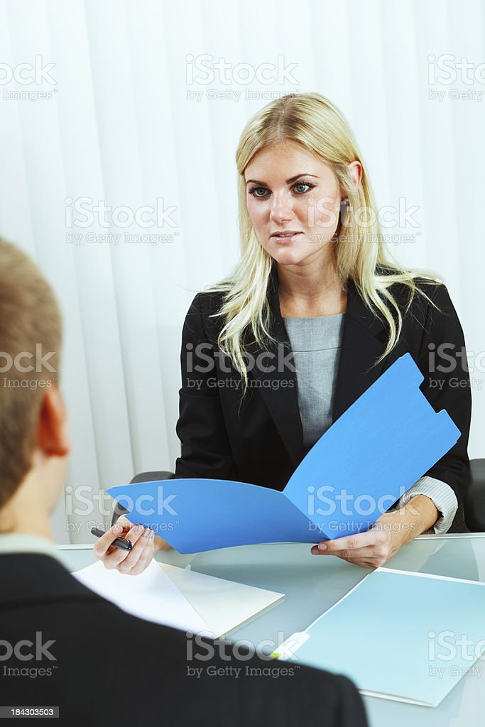 Business Human Resource Manager Interviewing New Hire Recruitment royalty-free stock photo