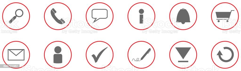 Business icon collection grey red stock photo