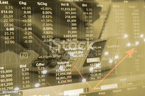 istock Business idea concept : Stock market or forex trading chart for for financial investment with close up young man calculator counting marketing cost background. Double exposure style. 927447052