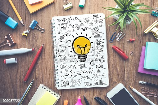 istock Business ideas concepts with light bulb drawing on notepad 905087722