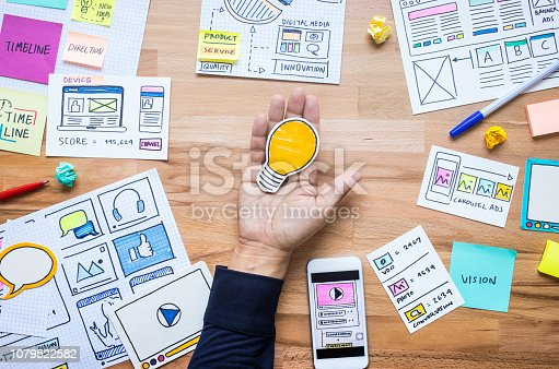 845301446 istock photo Business ideas with light bulb on male hand with paperwork sketch on wood table.analysis strategy concepts 1079522582