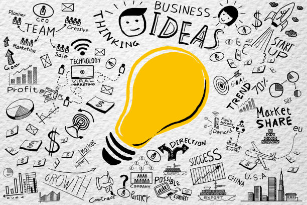 business ideas.freehand drawing light bulb business doodles set - gekritzel zeichnung stock-fotos und bilder