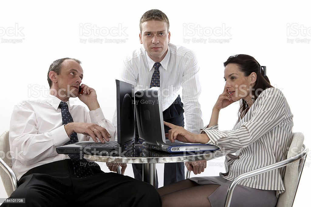Business in cafe stock photo