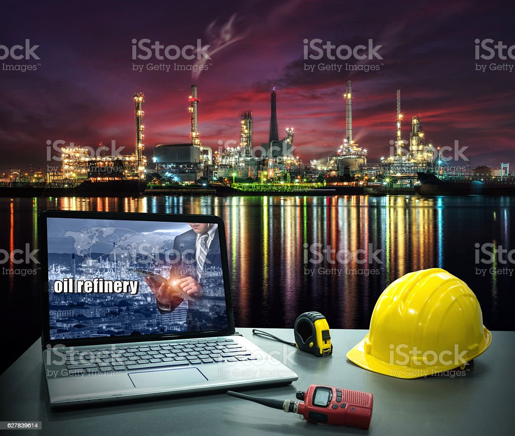 Business industry concept, Laptop desk on with Oil and gas industry stock photo