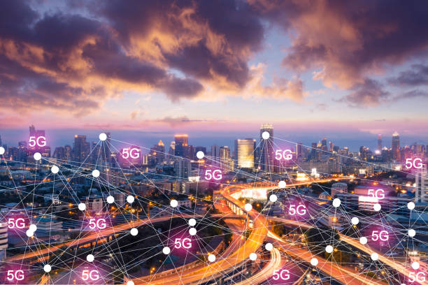 Business industry connection 5G technology concept in the future with city