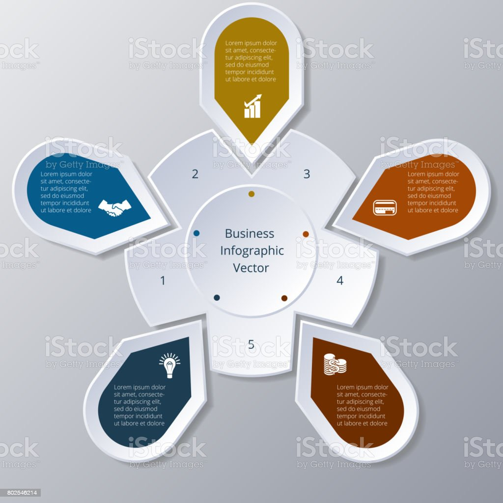 Business Infographic five Points arranged in circle gear stock photo