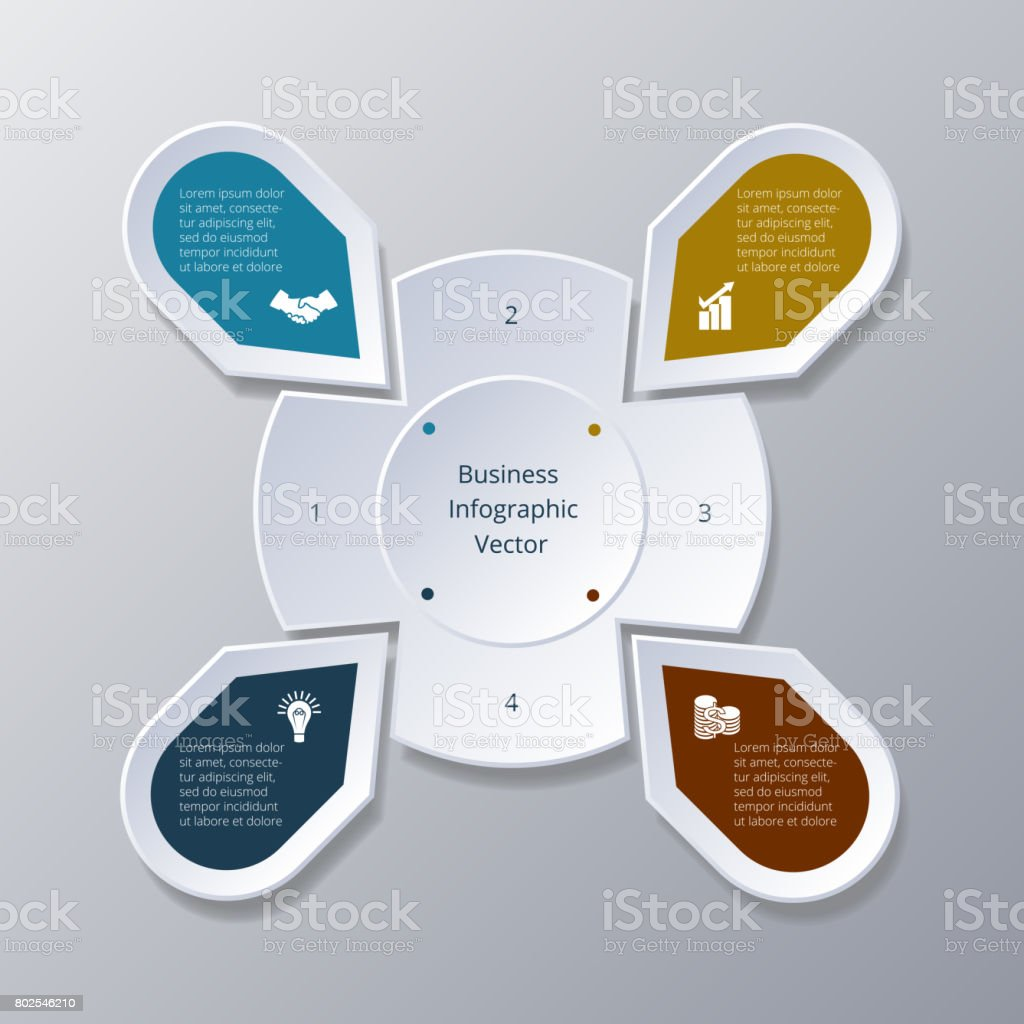 Business Infographic four Points arranged in circle gear stock photo
