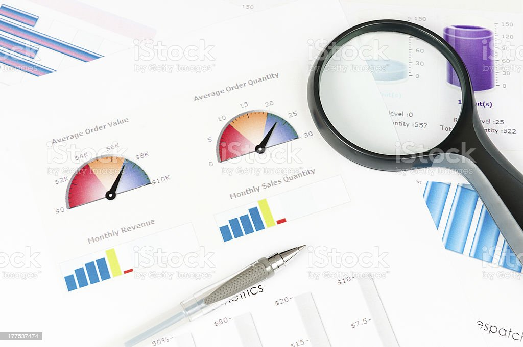 Business infographic with pen and lunette royalty-free stock photo