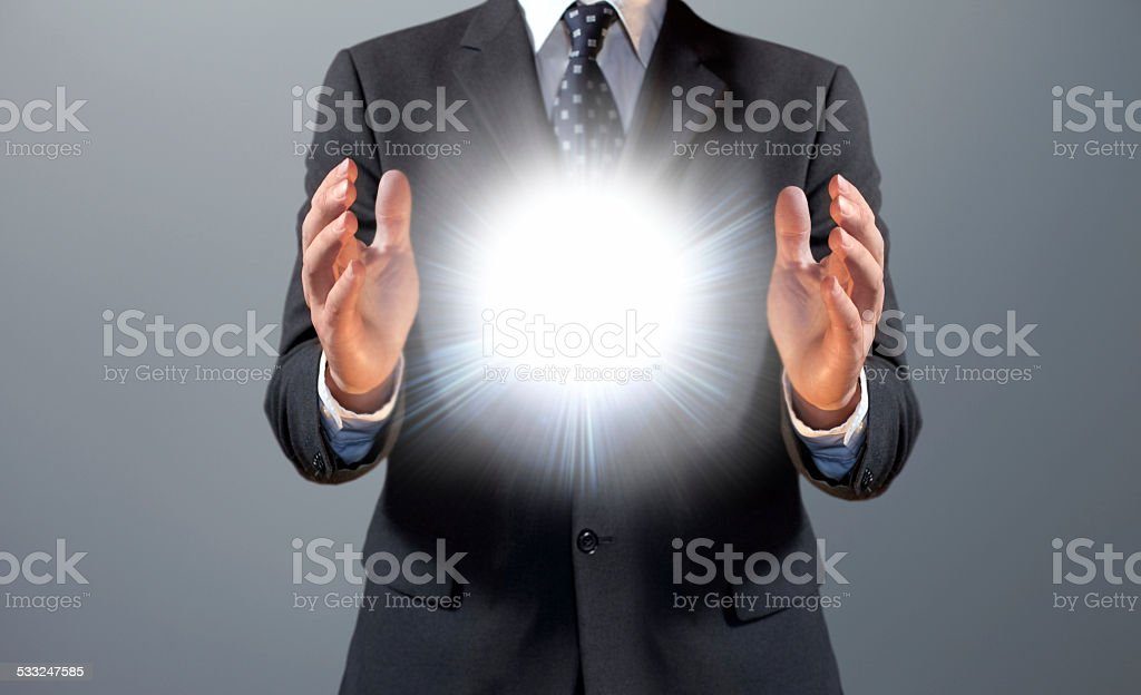 Business innovation: manager creating new ideas stock photo