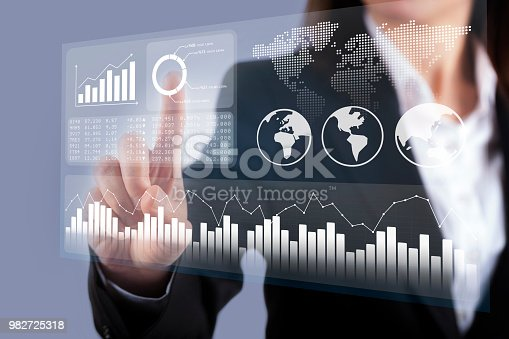 istock Business intelligence dashboard with key performance indicators 982725318