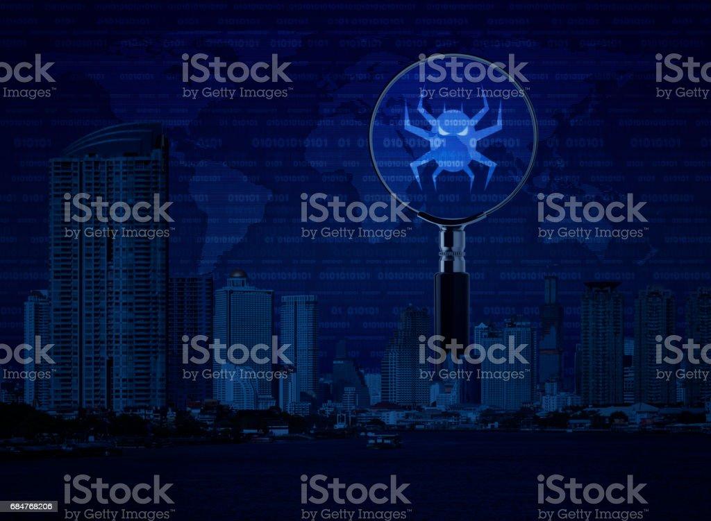 Conceito de segurança do internet do negócio, elementos da imagem fornecida pela NASA - foto de acervo