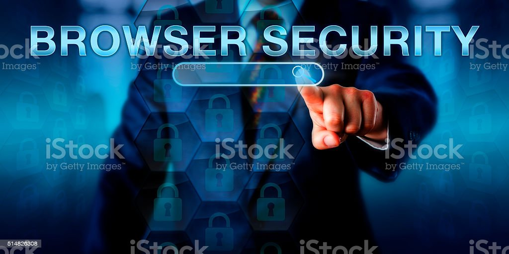 Business Internet User Pushing BROWSER SECURITY stock photo