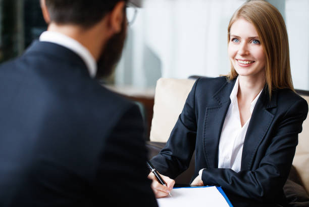 Business interview Interview, Job, Discussion, Women, Man, Talking, face to face stock pictures, royalty-free photos & images