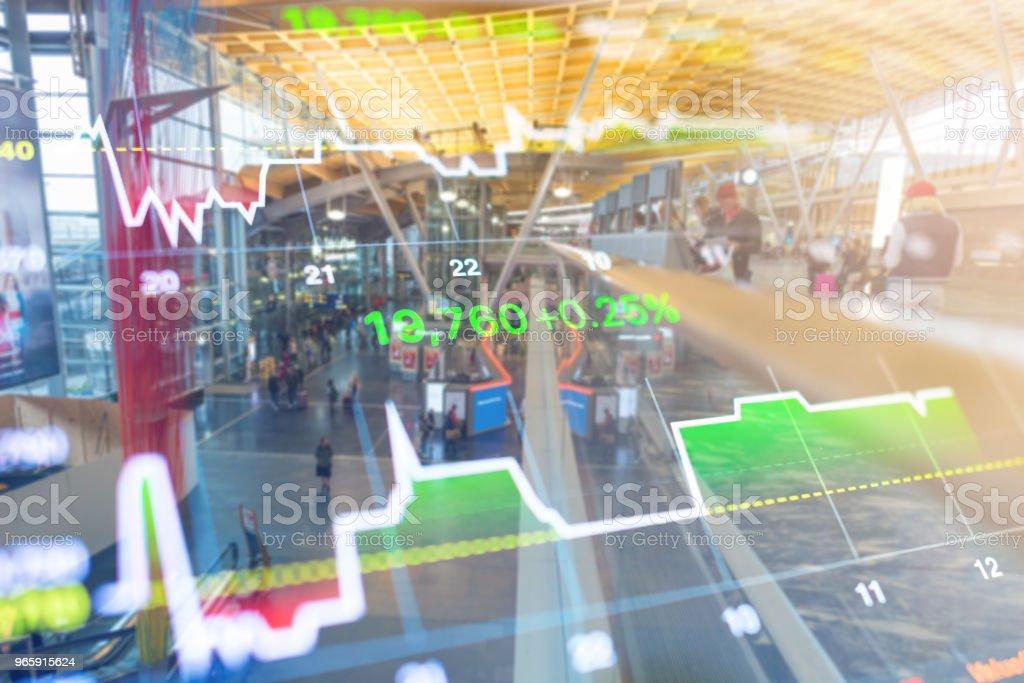 Zakelijke investeringen thema stockmarket Oslo stad Noorwegen straat scène met mensen achtergrond - Royalty-free Achtergrond - Thema Stockfoto