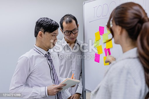 1144568493 istock photo Business investors are talking about the data saved in the office 1214721259