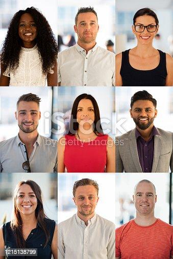 A 3x3 portrait headshot digital montage of business professionals.