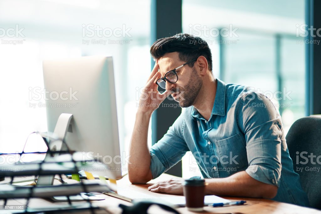 Business is putting him in a bad mood stock photo