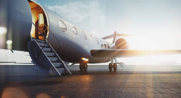 Business-Jet-Flugzeug geparkt vor der Außenseite und warten vip Personen. Luxustourismus und Business-Reise-Transport-Konzept. Flares. 3D-Rendering. – Foto