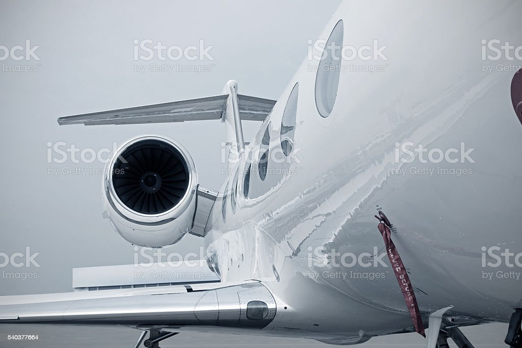 Business Jet engine stock photo