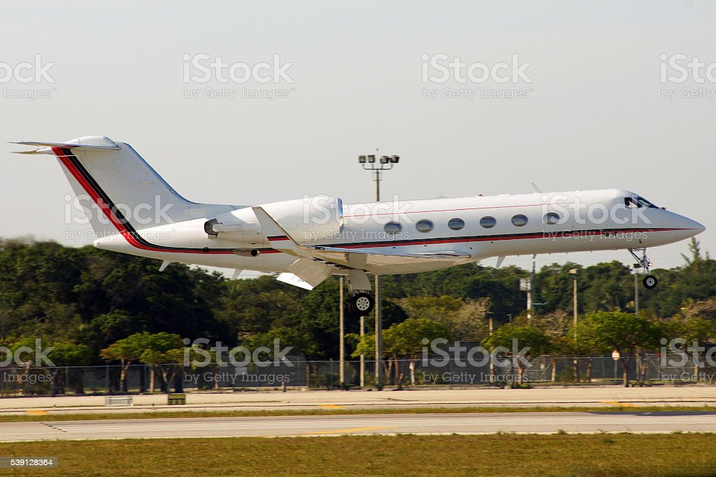 Business Jet Landing stock photo