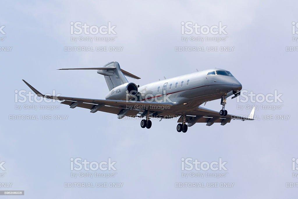 Business jet landing. royalty-free stock photo