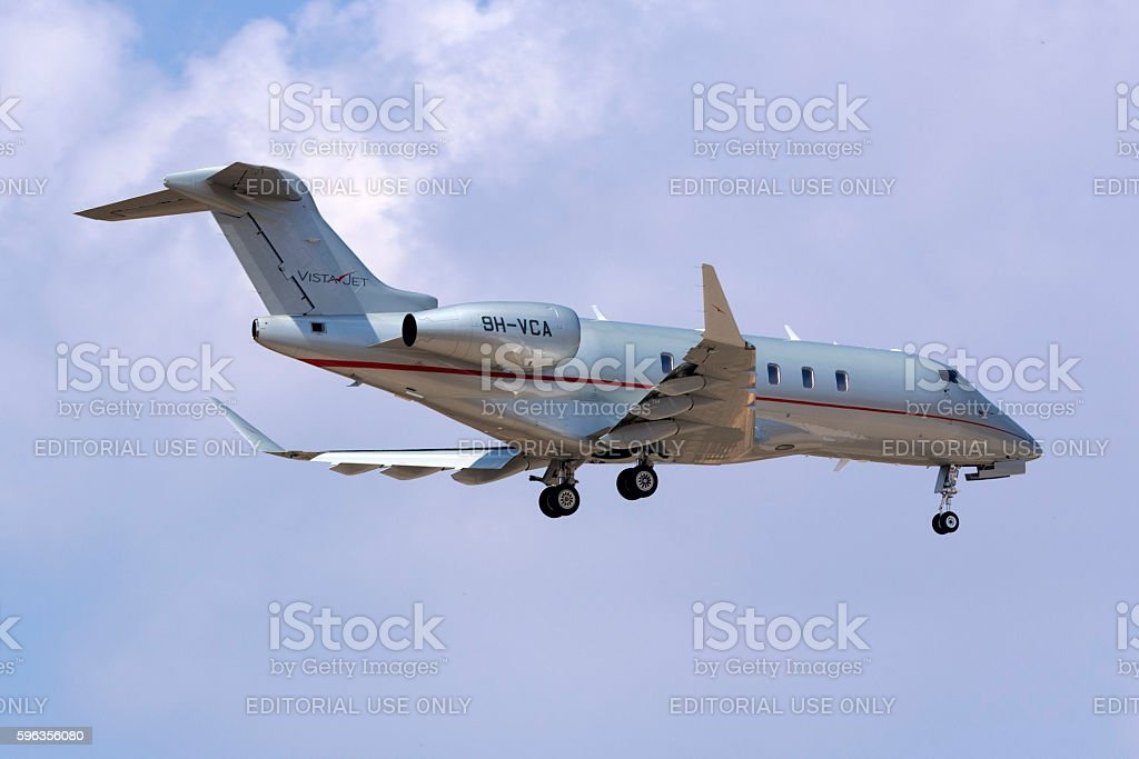 Business jet landing. royalty-free stock photo