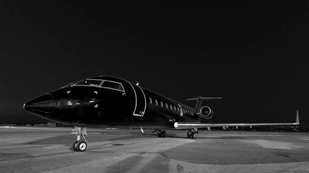 business jet. plane is parked - limousine service stock photos and pictures