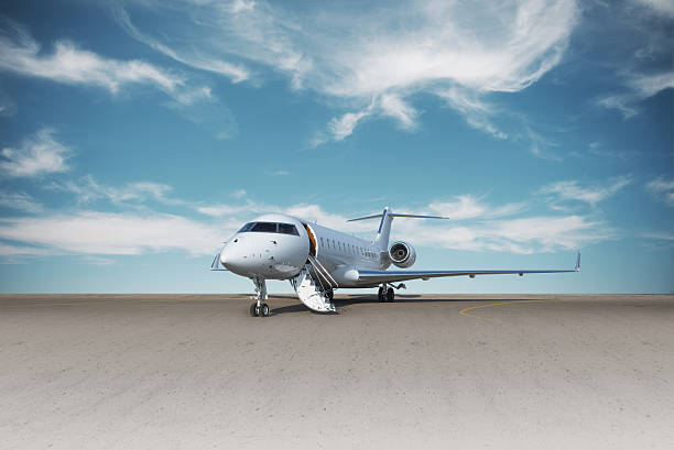Business jet plane on the ground. stock photo