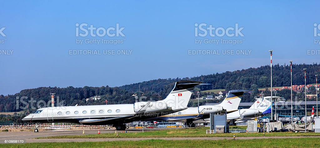 Business jets in Zurich airport stock photo