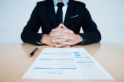 Business Job Interview Hr And Resume Of Applicant On Table Stock Photo - Download Image Now