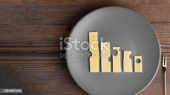 Business knockdown and crisis. Food concept. Lowering trend made with cheese graphs on grey plate with fork next to it on wooden table with copy space. Agriculture and dairy manufacture. Horizontal