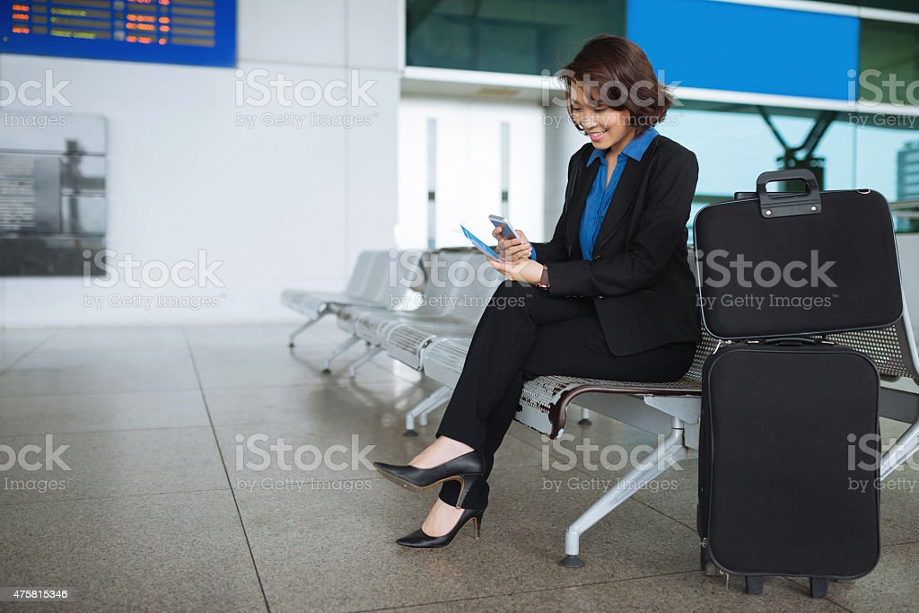 Business lady in waiting room stock photo