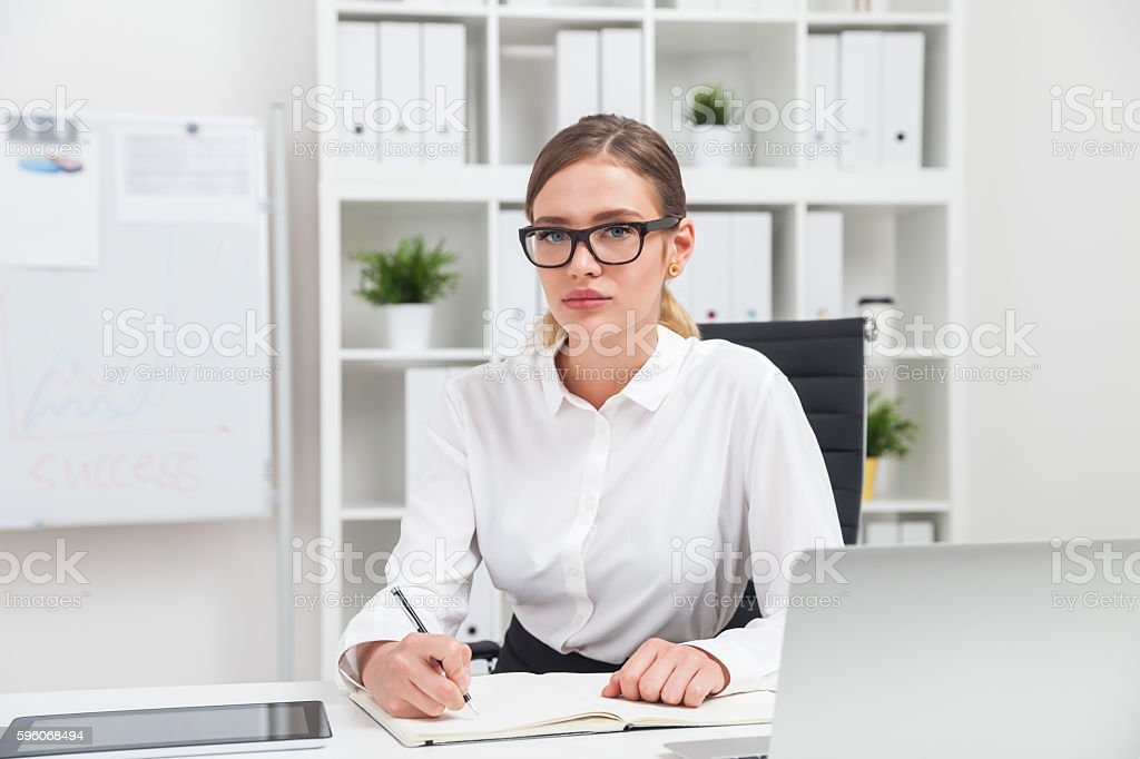 Business lady looking serious royalty-free stock photo