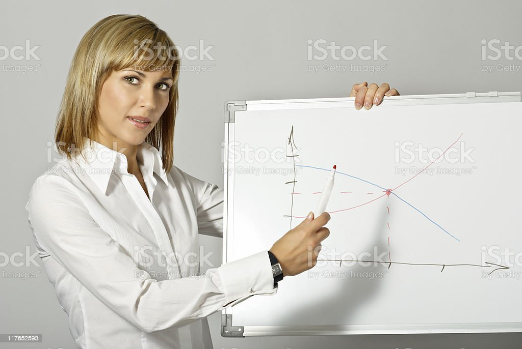 Business Lady pointing to Whiteboard royalty-free stock photo