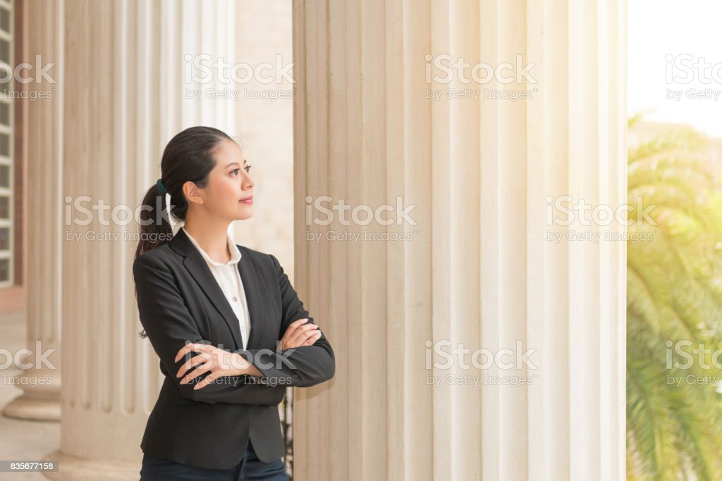 business lawyer thinking about the future stock photo