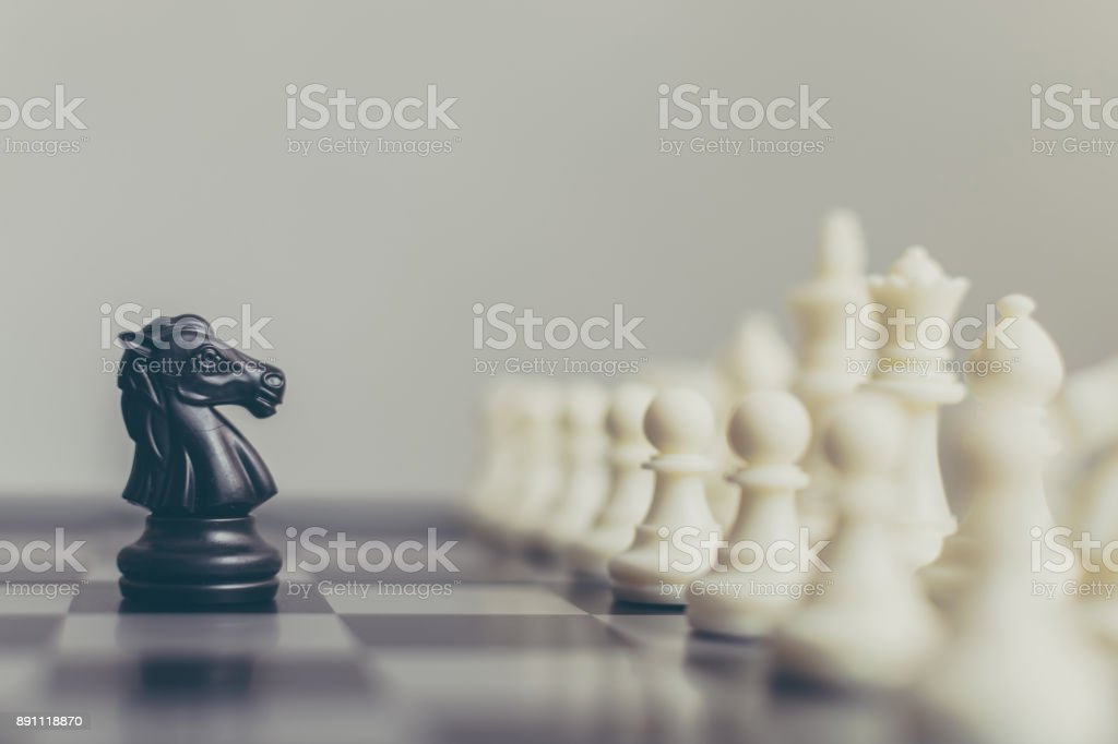 Business leader and confrontation solve problems concept, Chess board game with copy space for your text stock photo
