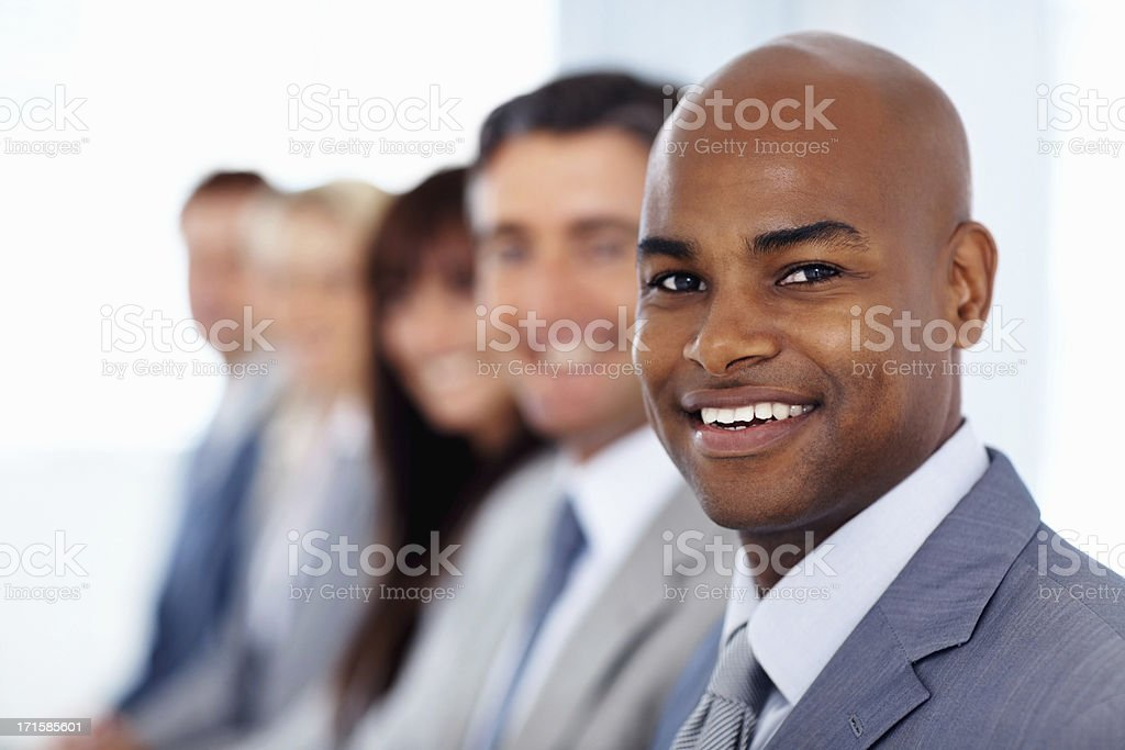 Business leader leading his team royalty-free stock photo