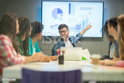 1007383644 istock photo Business leader pointing at the screen at a board meeting looking very happy and smiling 875430096