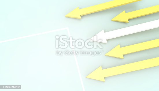 584751238istockphoto Business Leadership Arrows background and targets Concept to success to success banner flat style on Blue Green background with copy space - 3d rendering 1198256237