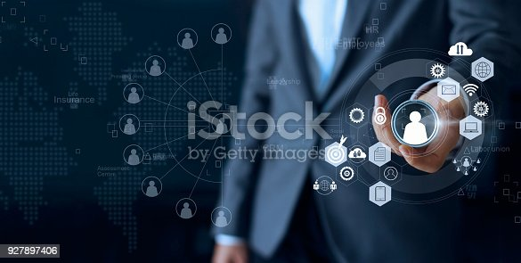 Business leadership choose person team leader represented with employee and human social network communication. CRM. Human resources concept