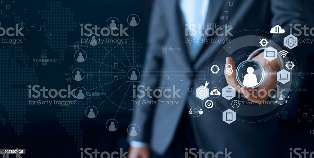 Business leadership choose person team leader represented with employee and human social network communication. CRM. Human resources concept stock photo