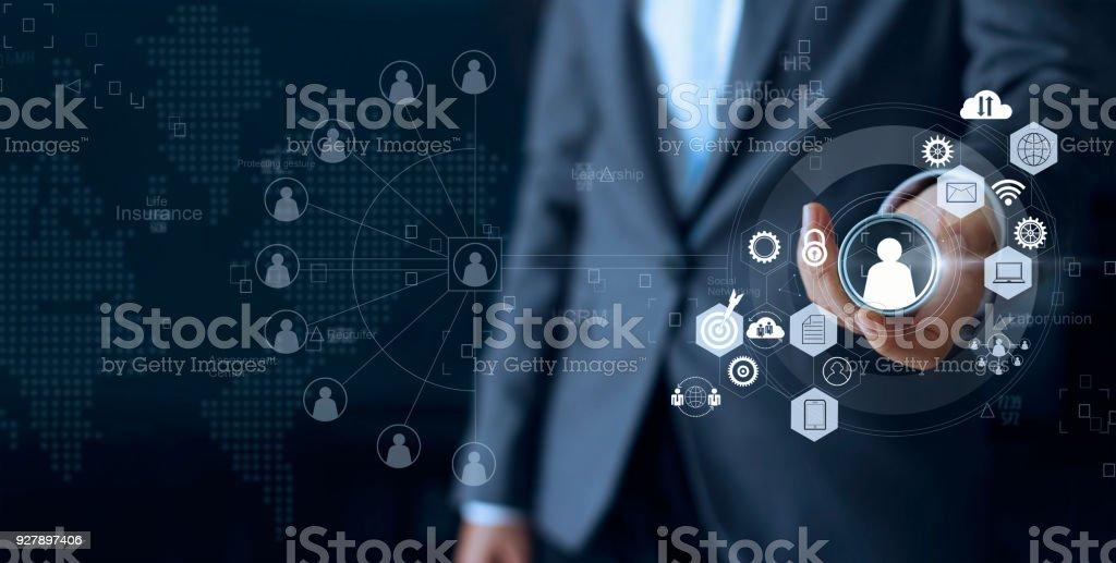 Liderazgo empresarial elegir persona lider con empleado y comunicación de la red social humana. CRM. Concepto de recursos humanos - foto de stock