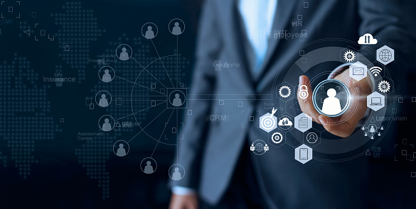 Business Leadership Choose Person Team Leader Represented With Employee And Human Social Network Communication Crm Human Resources Concept Stock Photo - Download Image Now