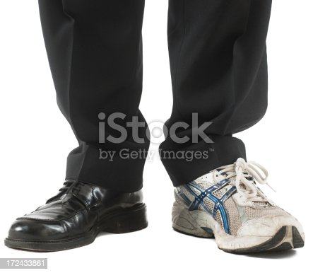 Business legs and black shos and sport shoe