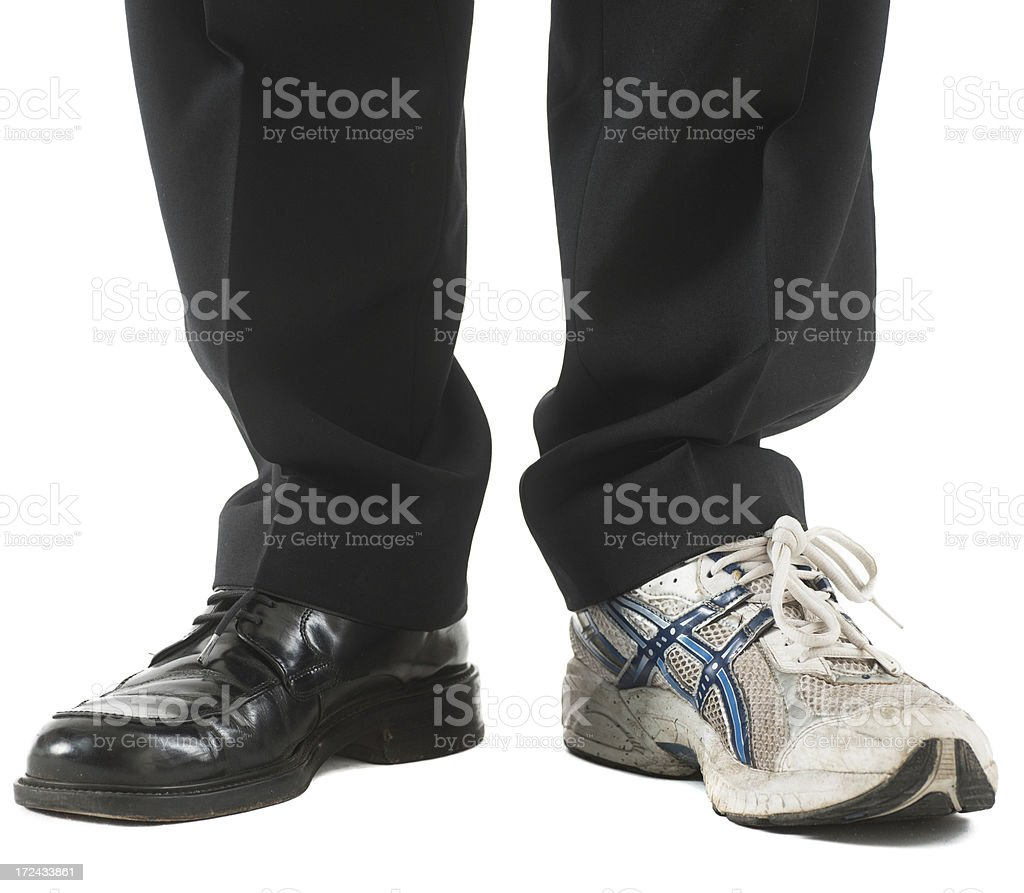 Business legs black shoe and sporty stock photo